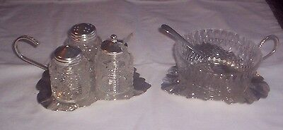 Mayell Silver Plated Condiment Set & sauce/preserve dish Carry Handle Leaf Tray