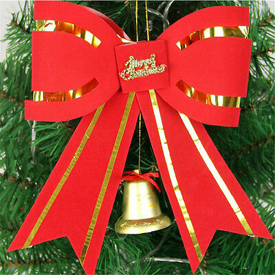 10PCS Xmas Christmas Tree Ornament Big Red Bow Hanging New Year Home Decoration