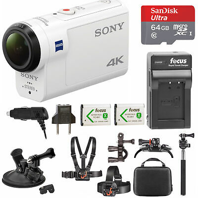 Sony FDR-X3000 4K Action Cam with 64GB microSD Card and Action Accessory Bundle