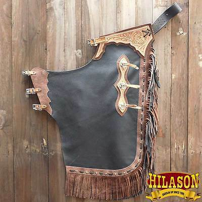 Hilason Western Black Rodeo Bronc Bull Riding Show Smooth Leather Chinks Chaps