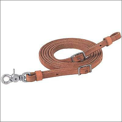 """1/2"""" X 8' Weaver Russet Harness Leather Pro Tack Horse Roper Reins Steel Snap"""