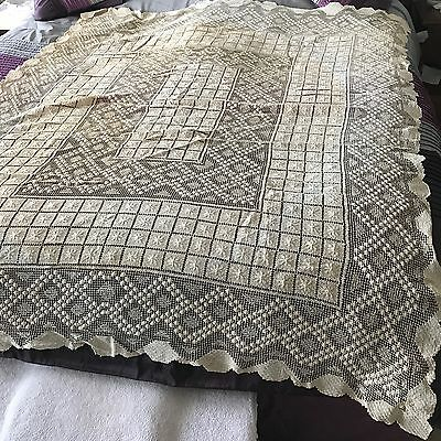"Antique Vintage CLEAN  Ecru Oyster Fishnet Lace Tablecloth 64"" X 80"" PERFECT"