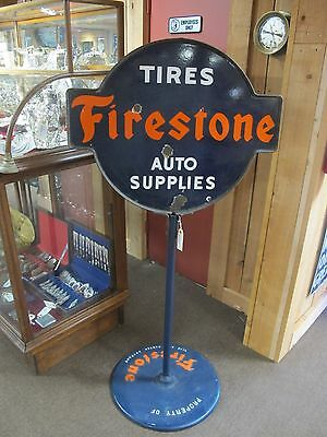 "Firestone Tires & Auto Supplies 61"" Lollipop Sign  24"" x 30"""