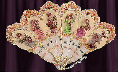 VICTORIAN Vintage 6 LADIES HAND FAN greeting card! WOW