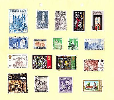 RELIGIOUS BUILDINGS STAMPS Temples/ Abbeys/ Cathedrals/ Churches/ Stained Glass