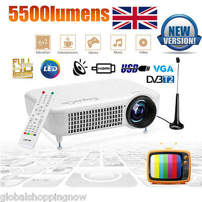 5000 Lumens Full HD 1080P Home Theater Multimedia LED Projector USB HDMI 10000:1