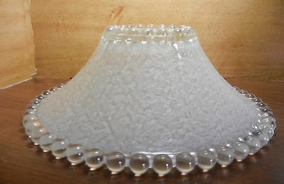 "11-1/4"" Vintage Candlewick Shade Cream Color In Clear Matte Lace-Like Decor Out"