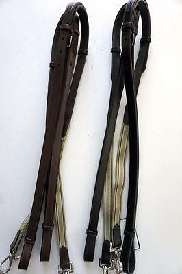 HDR English Training Riding Side Reins Leather with Elastic Insert