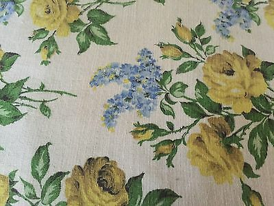 stunning  PIECE OF 1950S yellow roses VINTAGE FLOWER  FABRIC, SOFT FUNISHING
