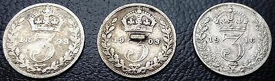 Lot of 3 Great Britain Silver 3 Pence Coins 1893 - 1903 - 1916 FREE COMBINED S/H
