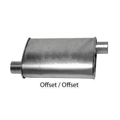 """Turbo Muffler 2.25"""" Dia Offset Inlet 2.25"""" Dia Offset Outlet 4.00 X 9.00"""" Oval 1"""