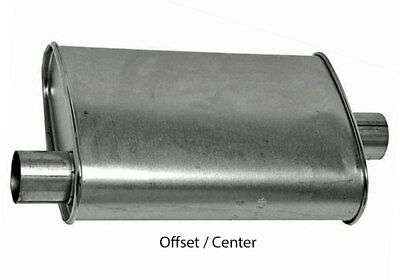 """Turbo Muffler 2.25"""" Dia Offset Inlet 2.25"""" Dia Center Outlet 4.00 X 9.00 Oval 18"""