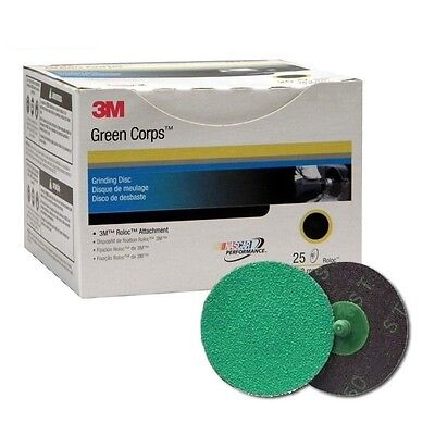 3M 01396 Green Corps Roloc Grinding Disc 2 in. 50 Grit 25 Discs Per Box