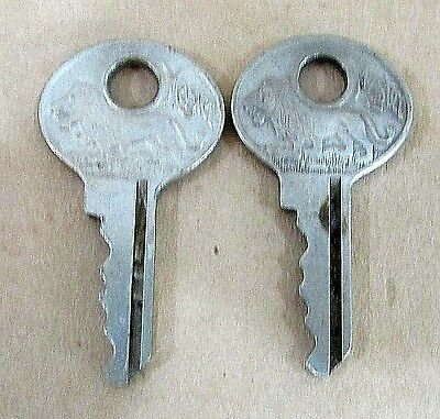 Pair Antique Master Lock Milwaukee WI Embossed Lion Logo Padlock Keys FREE S/H