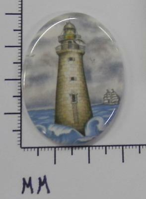 70910       Porcelain -  Lighthouse  With Waves  / Oval  30x40 - by each SALE