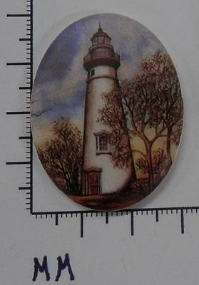 70902    Porcelain -  Lighthouse With Trees  /  Oval  30x40  - by each SALE