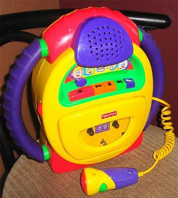 Fisher Price Kid Tough Cassette Recorder Player sing-along microphone voice warp