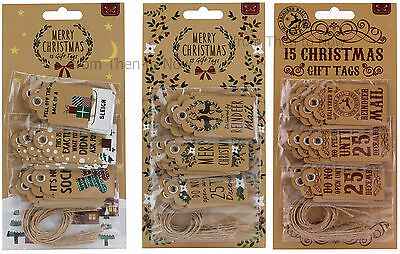 Vintage Pack of 15 Assorted Merry Christmas Gift Tags Kraft Label Swing Luggage
