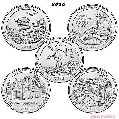 Complete Set Of 2016-S Bu National Park Quarters - $2.95 Max Shipping