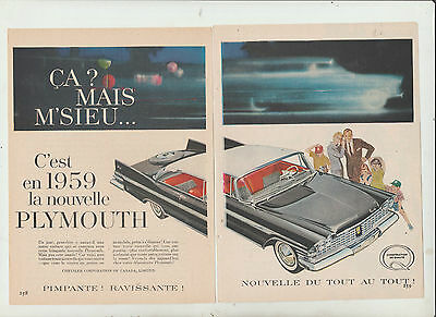 8 ad DODGE PLYMOUTH  1959 FRENCH  CANADIAN