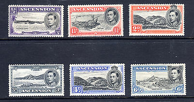 1938-44 Ascension 6 Different Perferation 13 1/2 George Vi Mint Hinged