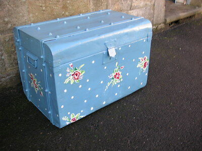 Vintage Tin Box Trunk Blue with Flower & Polka Dot Painted Style Decor Cute
