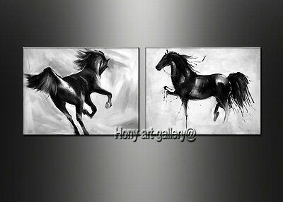 Modern Black And White Horse Abstract Oil Painting Canvas Wall Art Decor Oil150