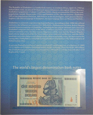 Zimbabwe 100 Trillion Dollars 2008 Banknote UNC with History Cover (ZM1F)