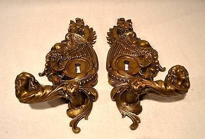 Pair Of Massive Bronze Figural Nouveau Door Handle Pulls Woman Wings Griffon