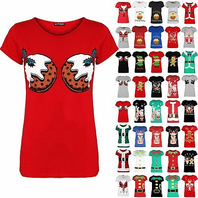 Womens Crew Neck Christmas Pudding Festival Ladies Funny Boobs Novelty Tee Shirt