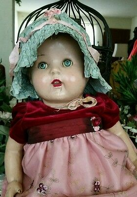 Antique crepe silk baby/doll bonnet victorian powder blue pink ribbon dressy