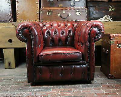 Vintage Oxblood Single Seater Chestefield Chair