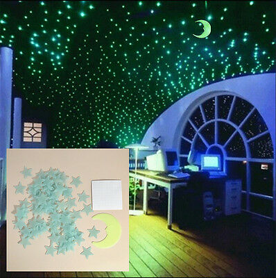 Delicieux Glow In The Dark 100PCS Stars +Moon Wall Sticker Kids Room Bedroom Ceiling  Decor