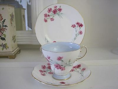 Gorgeous Vintage Foley Pink Carnations With Blue Fine Bone China Trio