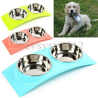 Double Stainless Steel Plastic Pet Dog Cat Puppy Bowl Food Water Feeding Dish