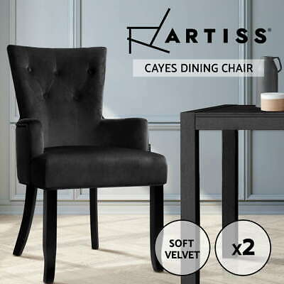 CAYES Dining Chair Linen Fabric French Provincial Wooden Retro Kitchen Black
