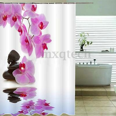180x200cm Flor Baño Cortina De Ducha Arte W/12Pcs Gancho Shower Curtain Panel