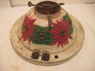 Old Vintage Cast Iron Lighted Christmas Tree Stand 1927  Poinsettia Holiday