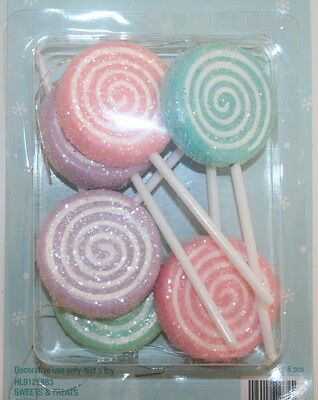 Set 6 Soft Pastel Sugar Coated LOLLIPOP Christmas Ornaments Candy Sweets Treats