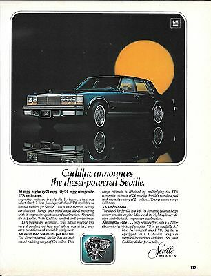 1978 Cadillac Announces The Diesel Powered Seville Car Ad