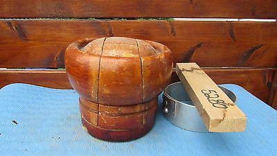 """GREAT Wood Wooden Hat Block Form Mold Millinery Puzzle 5 PIECES Size 23"""" #174"""