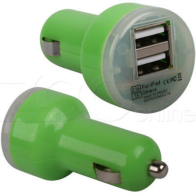 "Green Twin Usb In Car Charger Adaptor For Your Hipstreet Pilot 10"" Tablet"