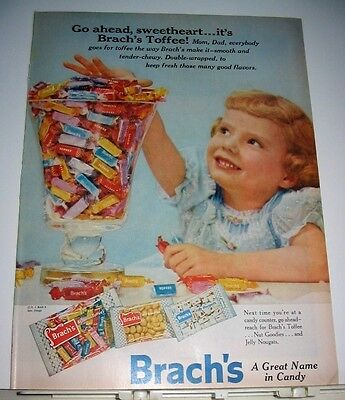1956  Brach's Toffee Candy Advert ~ Pretty Little Girl