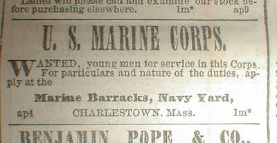 1863 Civil War display newspaper US MARINE CORPS recruiting AD on the front page