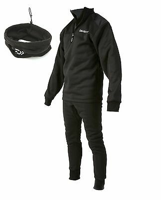 Daiwa Sundridge NEW Carp Fishing Black Sleepskin Thermal Suit + Neckwarmer
