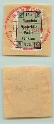 Lithuania, 1919, 15k, used, on piece. d9661