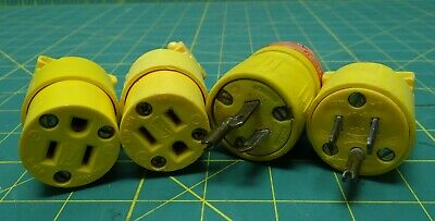 4 Piece Plug and Receptacle Lot, 5-15R, 5-15P, 5-15, 15 Amps 125 Volts