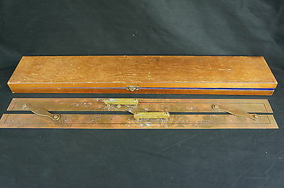 English KELVIN & HUGHES Brass ship Parallel Ruler, Case ca.1900 [Y8-W8-A9-E9]