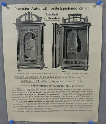 Lithograph Reprint Chordephon-Zither Automata Music Box Advertising Poster