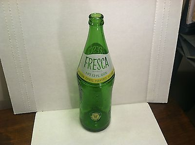 Fresca 28oz green glass ACL soda bottle - product of Coca-Cola - textured